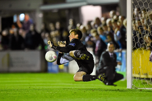 O'Malley saving a penalty which handed St Patrick's Athletic the EA Sports Cup back in September 2015. Pic: Sportsfile