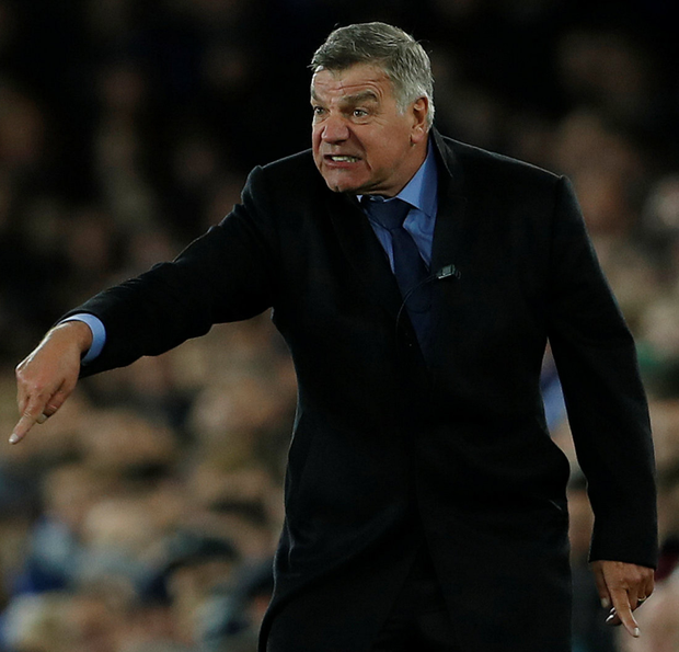 New Everton manager Sam Allardyce gestures during the Premier League win over Huddersfield at Goodison Park last Saturday