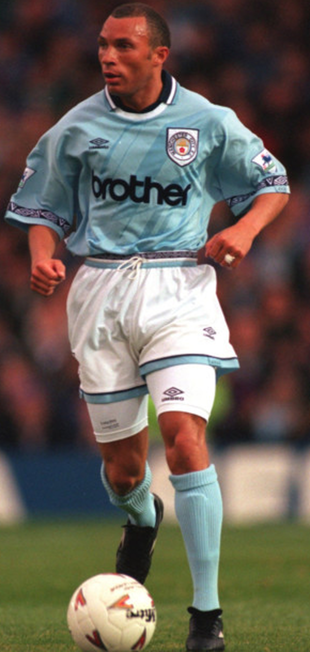 Former Ireland international Terry Phelan in action for Manchester City