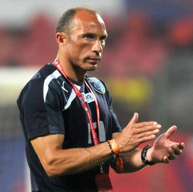 Terry Phelan is pictured in his role as coach of Kerala Blasters in the Indian Super League
