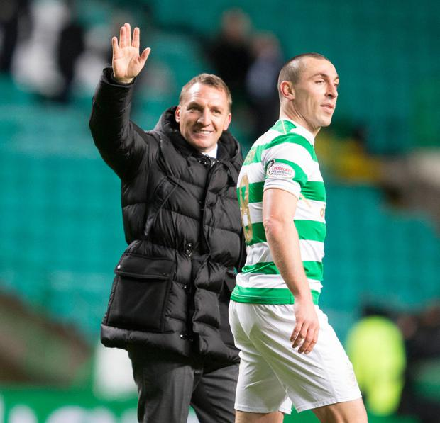 (l-r) Celtic boss Brendan Rodgers and Scott Brown. Pic: PA
