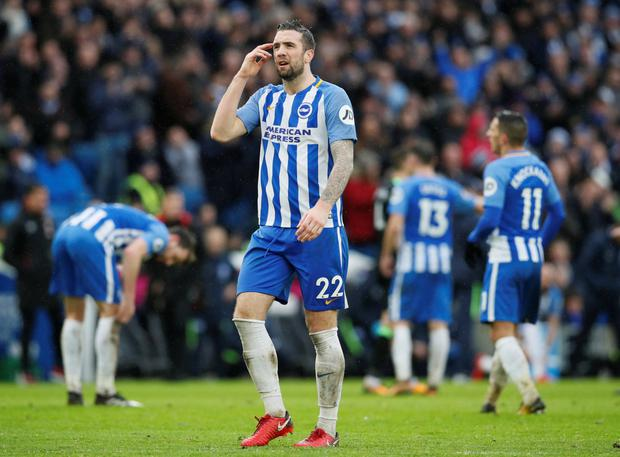 Brighton's Irish defender Shane Duffy gestures during yesterday's draw with Bournemouth. Pic: Reuters