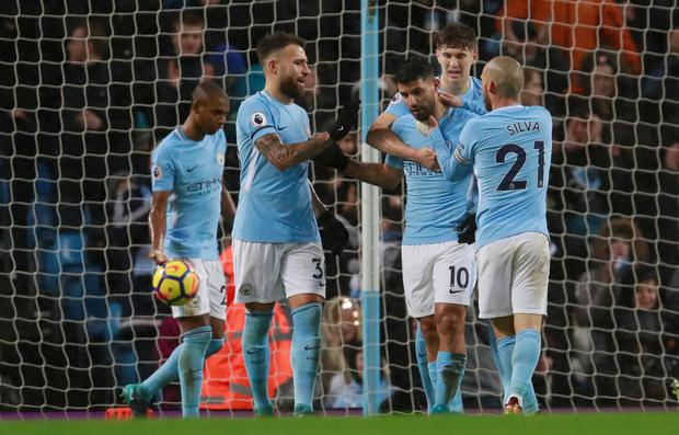 Sergio Aguero celebrates his goal. Photo: Reuters