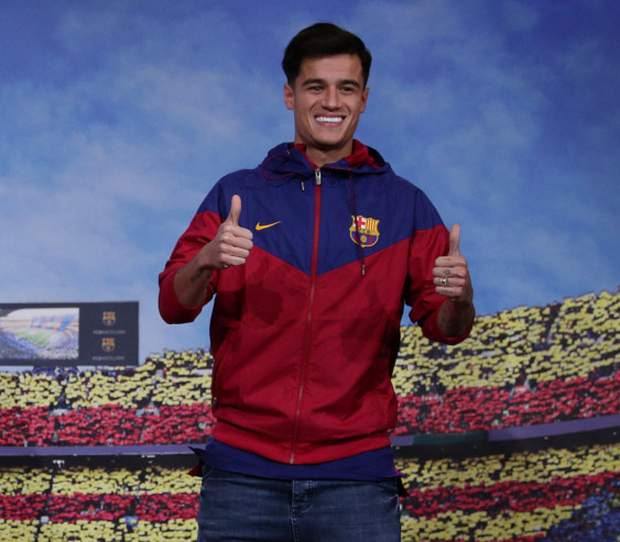 Philippe Coutinho was presented as a Barcelona player at the Nou Camp yesterday, following his £142m move from Liverpool. Photo: Reuters