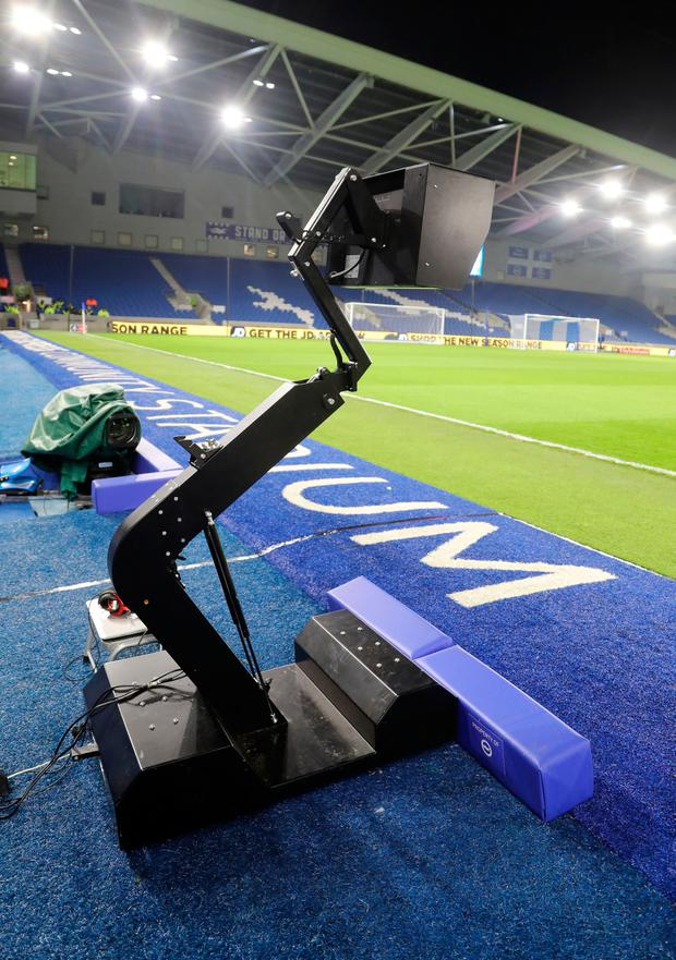 The Video Assistant Referee, pictured before the game. Photo: PA Wire