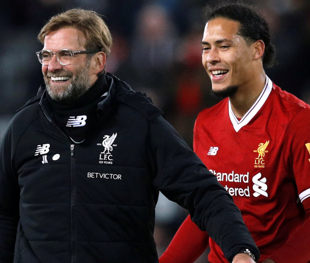 Liverpool manager Jurgen Klopp celebrates with Virgil van Dijk after beating Everton last week in the FA Cup