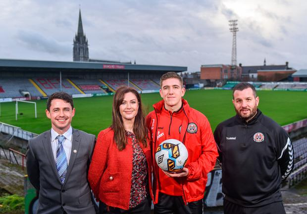 Bohemians player Oscar Brennan (second right) with (l-r) More Than A Club representatives Shane Fox, Carina O'Brien and Ger Coughlan at Dalymount Park yesterday. Pic: Sportsfile