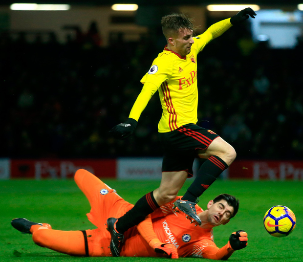 Chelsea's Thibaut Courtois, pictured in action against Watford's Gerard Deulofeu last Monday