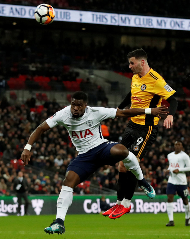 Newport County's Irish striker Pádraig Amond heads just over the Tottenham Hotspur bar in last night's FA Cup fourth round replay defeat at Wembley