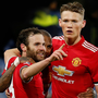 MATA-DORED: Juan Mata celebrates his goal with Manchester United team-mates, but it was subsequently deemed offside by the VAR system
