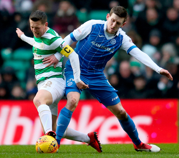 Bhoys leader: Celtic captain Callum McGregor is pictured in action against St Johnstone's Blair Alston at Celtic Park last Sunday