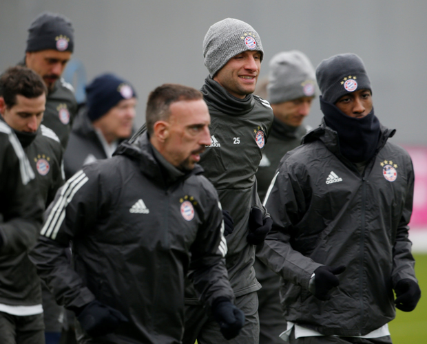 Munich mission: Bayern Munich's Thomas Muller, Franck Ribery and team-mates during training ahead of tonight's clash with Besiktas
