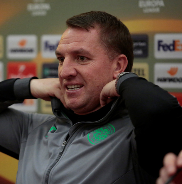 Celtic manager Brendan Rodgers pictured during the press conference ahead of this evening's Europa League clash with Zenit St Petersburg