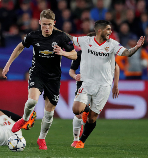 Man in possession Scott McTominay, pictured here in action against Sevilla, could face Chelsea on Sunday