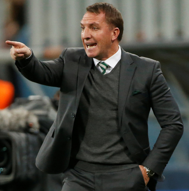 Celtic manager Brendan Rodgers gestures during last night's defeat