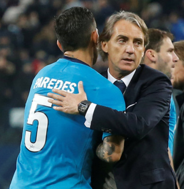 Zenit manager Roberto Mancini celebrates at the end of the game