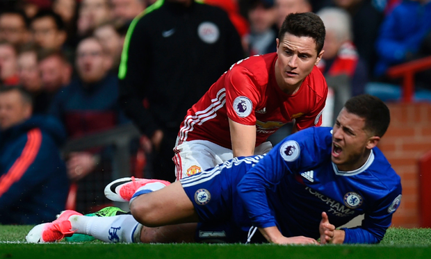 MAN-MARKED: Manchester United boss Jose Mourinho will rue the loss of Ander Herrera who marked Chelsea's Eden Hazard out of the game when the sides met last April. Photo: Getty Images