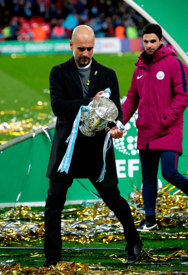 CUP JOY: Man City boss Pep Guardiola