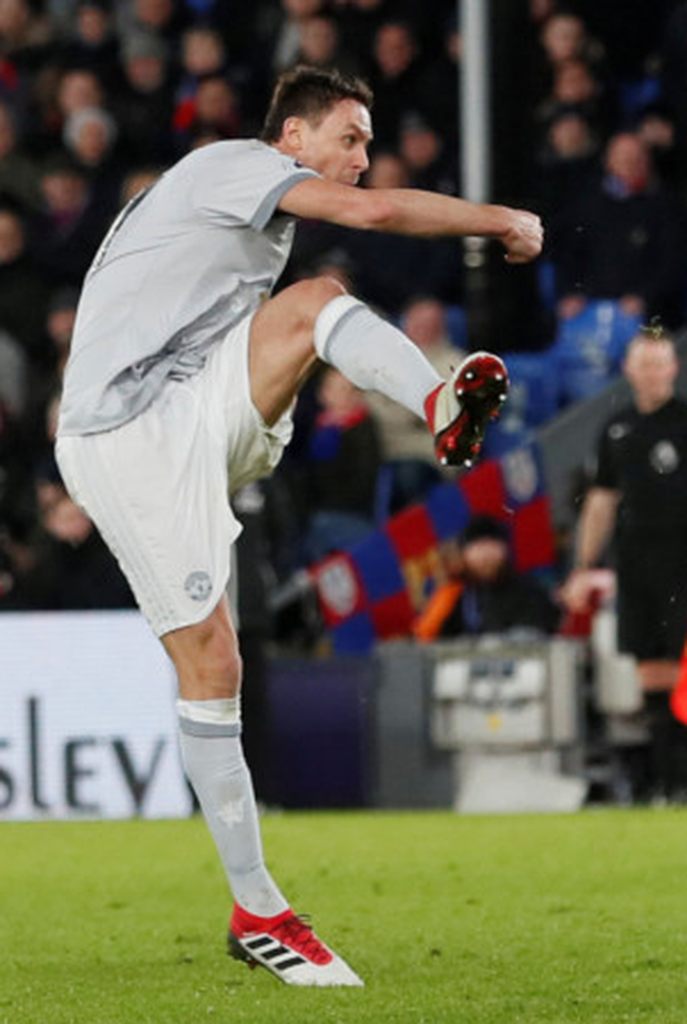 Late hero: Nemanja Matic lets fly to hand Manchester United all three Premier League points against Crystal Palace at Selhurst Park last night