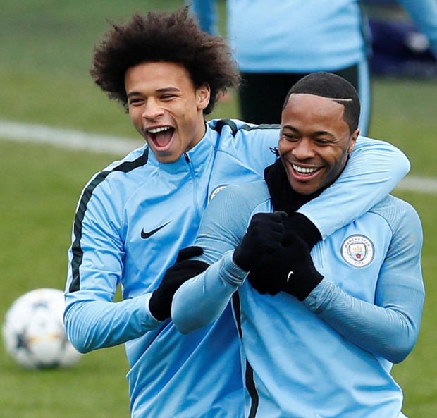 Slickers: (l-r) Leroy Sane and Raheem Sterling in training