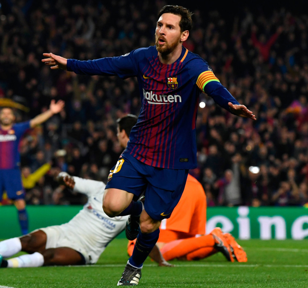 MAGICAL MESSI: Barcelona's Lionel Messi celebrates scoring his second goal in the Champions League Last 16 second leg win over Chelsea at the Nou Camp