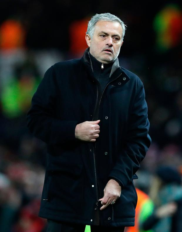 United boss Jose Mourinho shows his disappointment after the loss