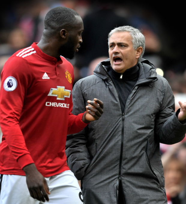 MOAN UNITED: Manchester United manager Jose Mourinho is pictured with his main striker Romelu Lukaku