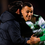 Shamrock Rovers manager Stephen Bradley embraces striker Graham Burke after last Friday's win over St Pat's at Tallaght Stadium