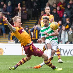 Celtic's Scott Sinclair unleashes a shot during the Scottish Premiership match at Fir Park, Motherwell