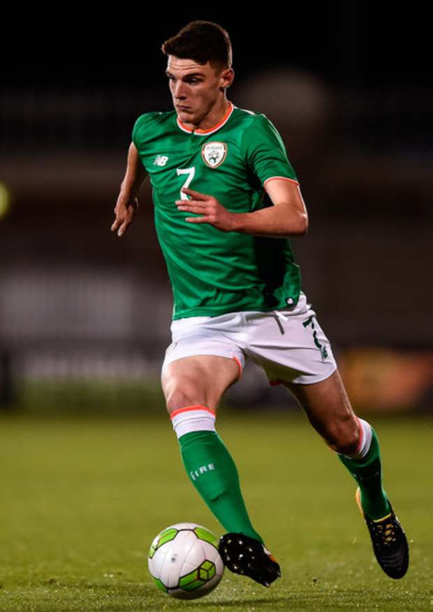Declan Rice, pictured here in action for Ireland Under-21s, will hope to make his senior debut in Friday's friendly against Turkey in Antalya. Photo: Sportsfile