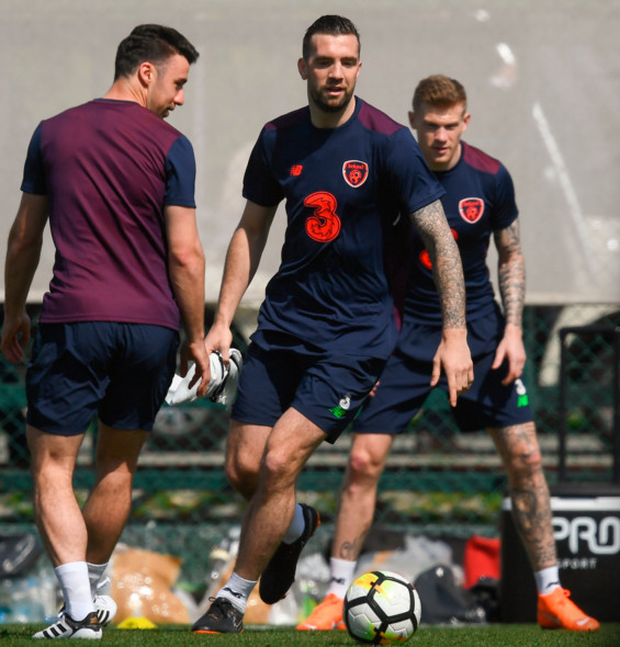 Ireland defender Shane Duffy is pictured in action during training in Antalya, Turkey yesterday