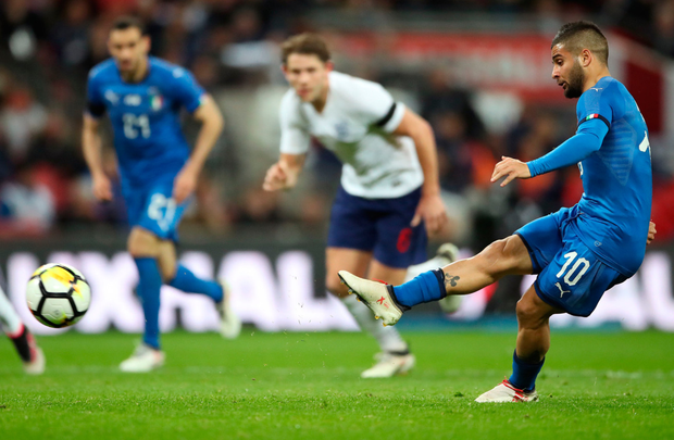 Leveller: Lorenzo Insigne strokes home Italy's penalty