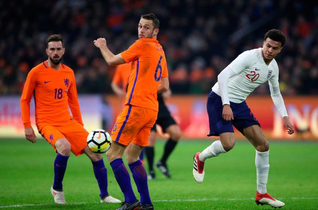 Dele Alli in action for England against Holland last Friday