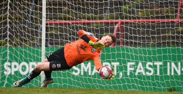 Bohs keeper makes a save in the EA Sports Cup shoot-out with UCD at Dalymount Park yesterday. Photo: Sportsfile