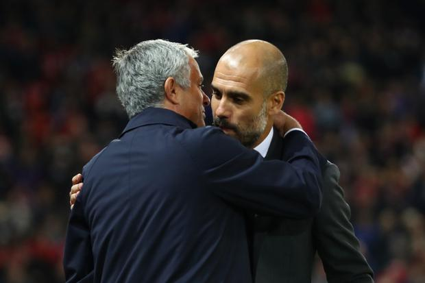 NO LOVE LOST: (l-r) United manager Jose Mourinho and City boss Pep Guardiola. Photo: Getty Images