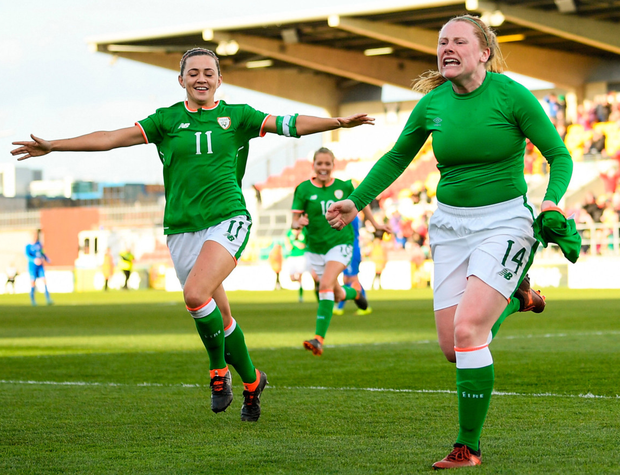 Late winner: (l-r) Ireland captain Katie McCabe celebrates with goalscorer Amber Barrett in yesterday's World Cup qualifying win over Slovakia in Tallaght