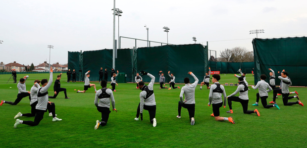 EURO MISSION, PART TWO: The Liverpool squad trains at Melwood ahead of tonight's clash with Manchester City. Photo: PA