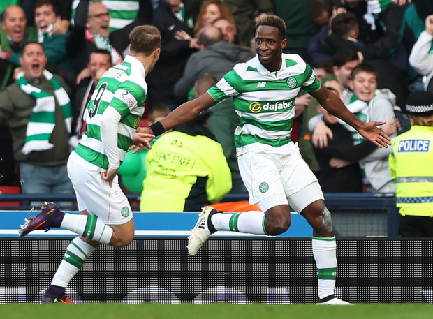 Semi joy: (l-r) Celtic's Leigh Griffiths and Moussa Dembele will hope for more Cup semi-final joy against Rangers on Sunday like their League Cup semi-final win over their Glasgow rivals in 2016