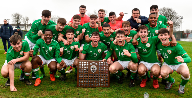 The Ireland Under-18 Schools side with the Centenary Shield