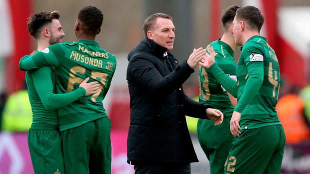 Job done: Celtic manager Brendan Rodgers after the Premiership match against Hamilton Academical