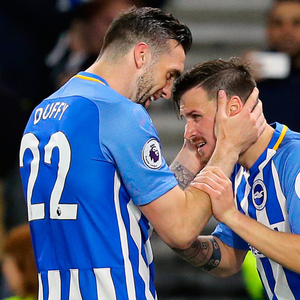 Spot on: (l-r) Shane Duffy congratulates Pascal Gross on scoring Brighton's equaliser