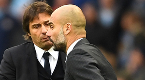 CHANGING OF THE GUARD: Chelsea boss Antonio Conte has surrendered the Premier League title to Manchester City manager Pep Guardiola