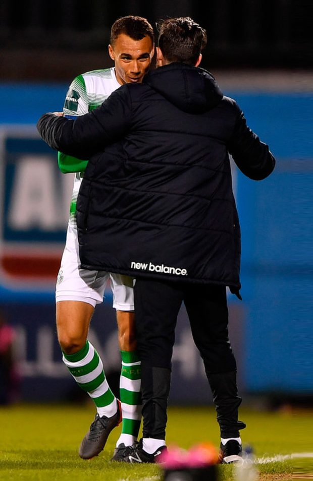 ROVERS RELIEF: Shamrock Rovers manager Stephen Bradley congratulates goalscorer Graham Burke in last night's Premier Division draw with Waterford at Tallaght Stadium