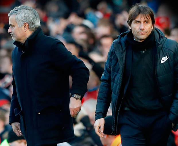 Best of enemies: (l-r) Manchester United manager Jose Mourinho and Chelsea boss Antonio Conte have enjoyed a fractuous relationship as they prepare to face each other again at Wembley tomorrow