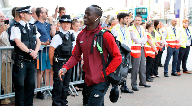 Liverpool striker Sadio Mane is pictured at John Lennon airport yesterday en route to Kiev