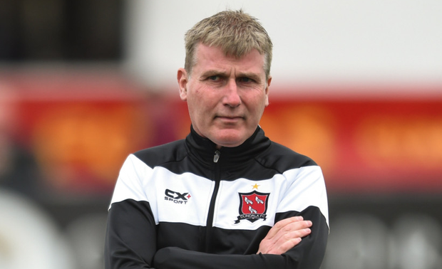 GREEN AMBITION: Dundalk manager Stephen Kenny has tipped Michael Duffy to follow in the footsteps of Shamrock Rovers' Graham Burke and earn an Ireland senior cap. Photo: SPORTSFILE
