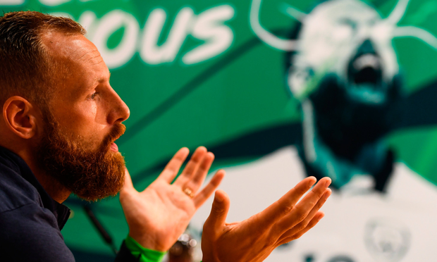 HURTING: Ireland midfielder David Meyler speaks during yesterday's press conference in Abbotstown. Photo: SPORTSFILE