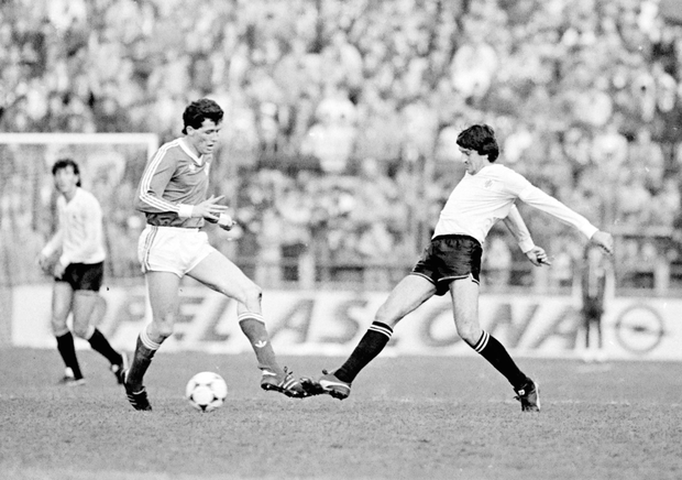 HOME FRONT: Liam O'Brien in action against Uruguay back in April 1986. Pic: Sportsfile