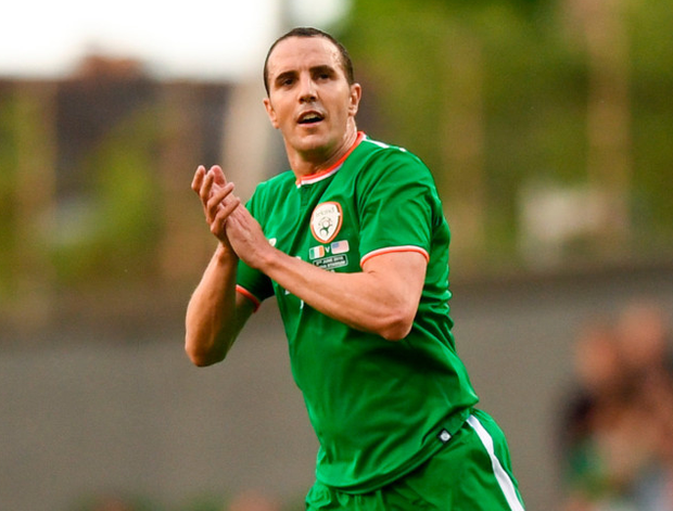 FINAL CALL: John O'Shea bids farewell to the crowd after his final game in an Ireland shirt