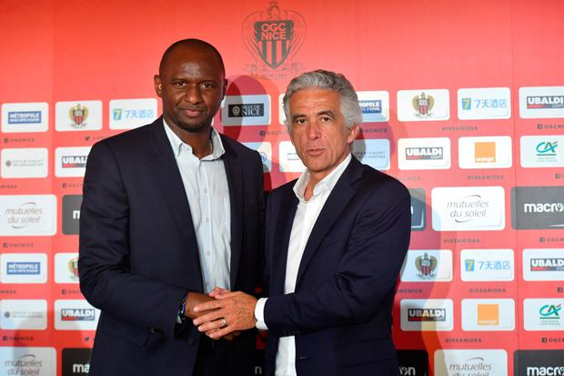 NICE MOVE: Patrick Vieira (l) shakes hands with Nice's president Jean-Pierre Rivere